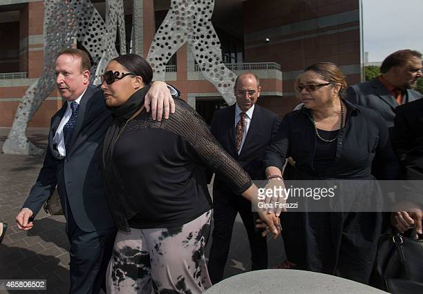 Nona Gaye daughter of the late recording artist Marvin Gaye leaves the Roybal Federal Courthouse with attorney Richard Busch and her father's former...