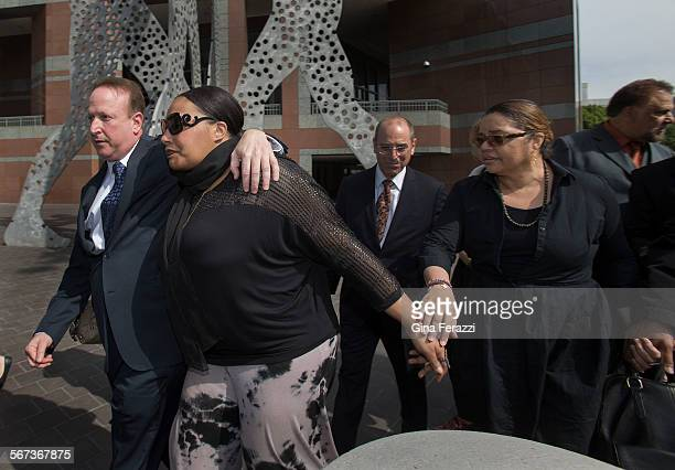 Nona Gaye middledaughter of the late Marvin Gaye leaves the Roybal Federal Courthouse with attorney Richard Busch left and her dad's exwife Janice...