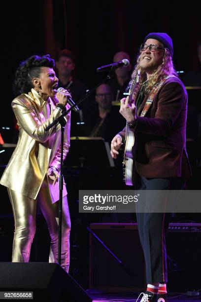 Nona Hendryx and Allen Stone perform during the 2nd Annual Love Rocks NYC concert benefitting God's Love We Deliver at the Beacon Theatre on March 15...