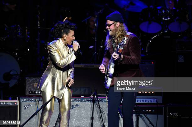 Nona Hendryx and Allen Stone perform onstage at the Second Annual LOVE ROCKS NYC A Benefit Concert for God's Love We Deliver at Beacon Theatre on...
