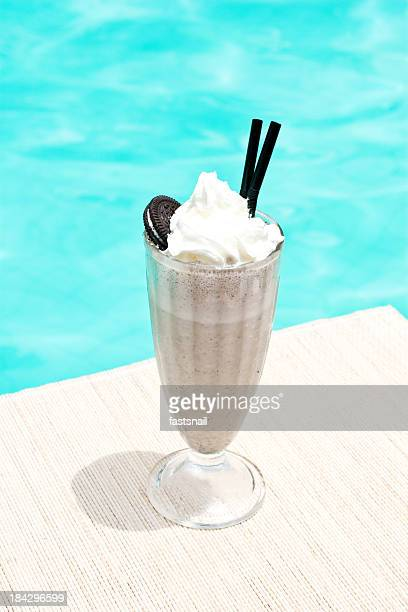 non-alcoholic chokolate milkshake cocktail near waterpool on the mat
