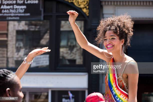 Nonbinary actress Indya Moore from the popular tv series Pose celebrates as a Grand Marshall at the annual Pride Parade on Sunday June 29 2019 in New...