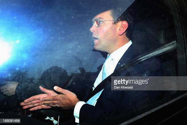 Non-executive director of BSKYB James Murdoch arrives for their annual general meeting at the Queen Elizabeth II centre on November 1, 2012 in...