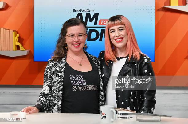 "Nonfiction writer/journalist Tina Horn and host Alex Berg pose at BuzzFeed's ""AM To DM"" on September 23, 2019 in New York City."