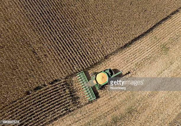 NonGMO corn is harvested with a John Deere Co 9670 STS combine harvester in this aerial photograph taken above Malden Illinois US on Wednesday Sept...