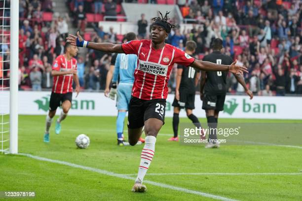 Noni Madueke of PSV Celebrates 1-0 during the Club Friendly match between PSV v PAOK Saloniki at the Philips Stadium on July 14, 2021 in Eindhoven...