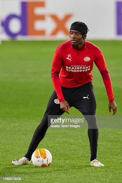 Noni Madueke of PSV Eindhoven in action during training session ahead of the UEFA Europa League Group E stage match between PSV Eindhoven and Granada...