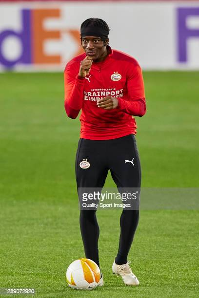 Noni Madueke of PSV Eindhoven reacts during training session ahead of the UEFA Europa League Group E stage match between PSV Eindhoven and Granada CF...