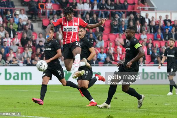 Noni Madueke of PSV scores the first goal to make it 1-0 during the Club Friendly match between PSV v PAOK Saloniki at the Philips Stadium on July...