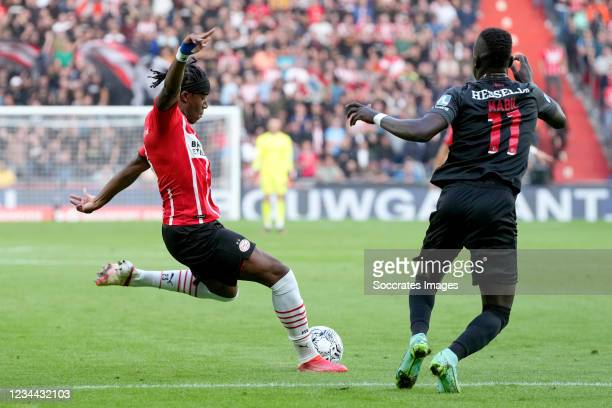 Noni Madueke of PSV scores the first goal to make it 1-0 during the UEFA Champions League match between PSV v FC Midtjylland at the Philips Stadium...