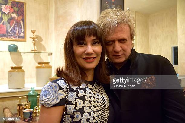 Nonita Kalra Editor Harper's Bazaar India with master couturier Rohit Bal at his first home collectibles and apparel line called HusnETaairaat at...