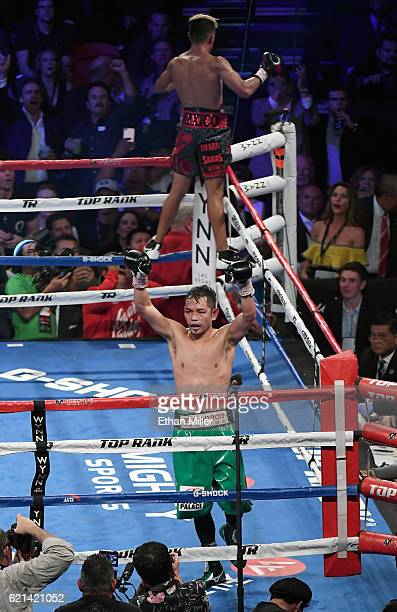 Nonito Donaire and Jessie Magdaleno both celebrate at the end of their WBO junior featherweight championship fight at the Thomas Mack Center on...
