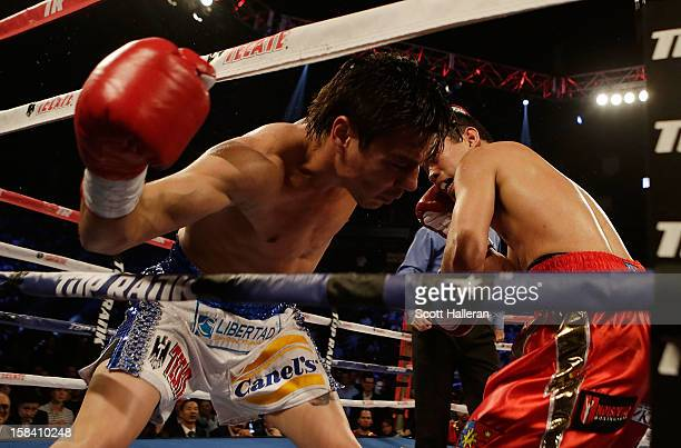 Nonito Donaire of the Philippines knocks out Jorge Arce of Mexico in the third round of their WBO World Super Bantamweight bout at the Toyota Center...