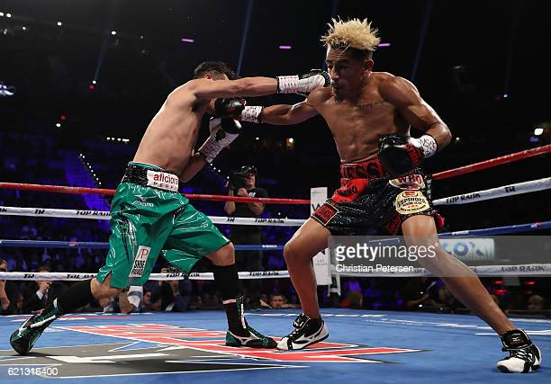 Nonito Donaire of the Philippines lands a right to the head of opponent Jessie Magdaleno during their WBO junior featherweight championship fight at...
