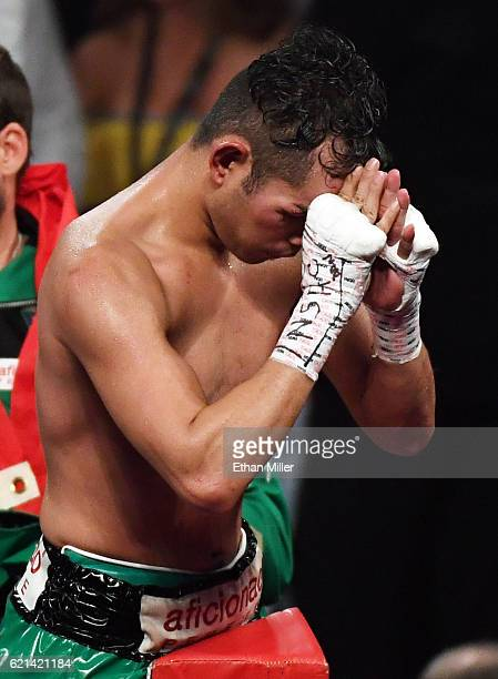 Nonito Donaire reacts in his corner at the end of his WBO junior featherweight championship fight against Jessie Magdaleno at the Thomas Mack Center...