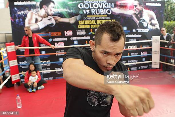 Nonito Donaire shadow boxes in the ring during an open media workout on October 15 2014 in Santa Monica California