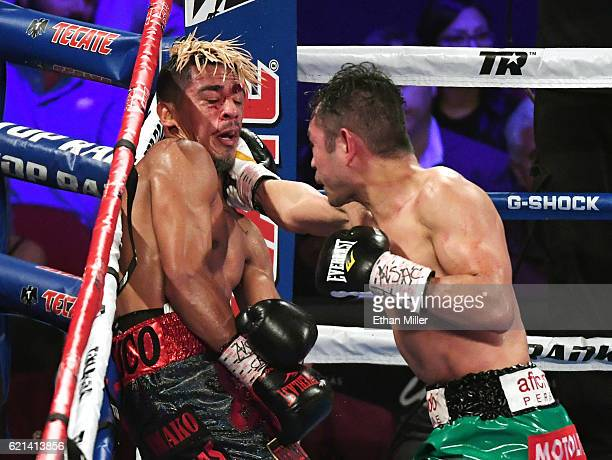 Nonito Donaire throws a right at Jessie Magdaleno in the 12th round of their WBO junior featherweight championship fight at the Thomas Mack Center on...