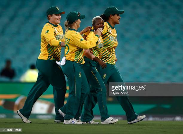 Nonkululeko Mlaba of South Africa celebrates after taking the wicket of Jess Jonassen of Australia during the ICC Women's T20 Cricket World Cup Semi...