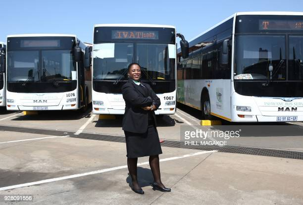 Nono Makeke a bus driver for the City of Tshwane's Bus Services Division poses at Stanza Bopape Bus Depot in Pretoria South Africa on March 2 2018 /...