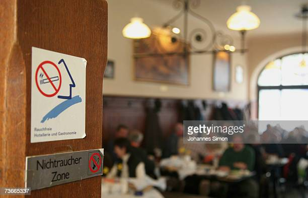 A nonsmoking area is designated by a sign in resturant 'Weisses Braeuhaus' March 22 2007 in Munich Germany German lawmakers are currently wrangling...