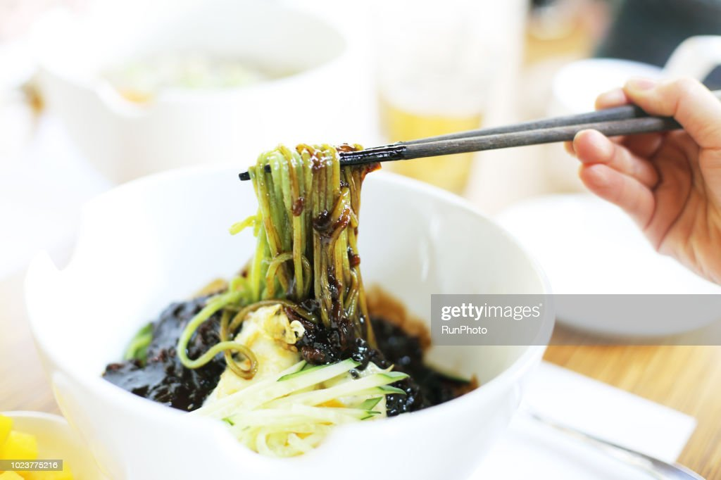 Noodle with Black Bean Sauce : Stock Photo