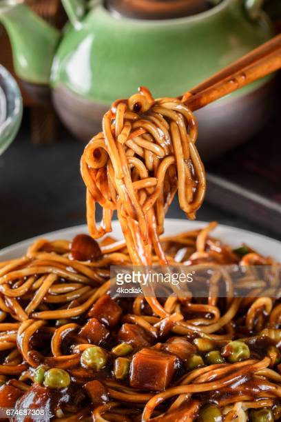 noodle with black bean sauce - korean food stock pictures, royalty-free photos & images