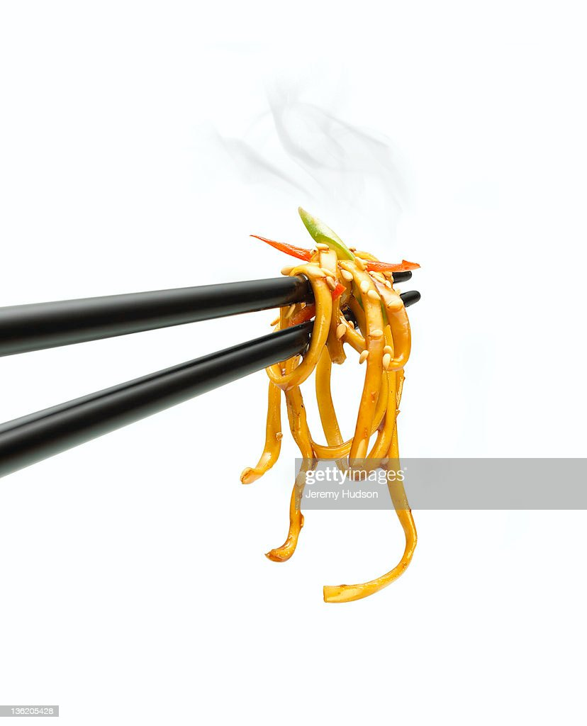Noodles on a chopstick : Stock Photo