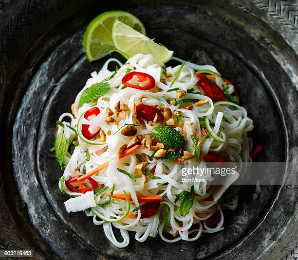 noodles salad - noodles stock pictures, royalty-free photos & images