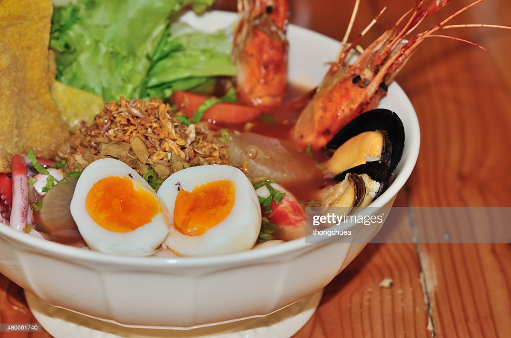 Noodles seafood is hot and spicy : Stock Photo