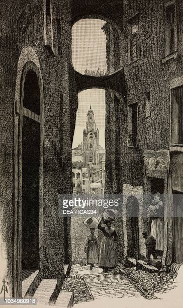 A nook of the old town of Sanremo Liguria Italy engraving from The Illustrated London News No 2558 April 28 1888