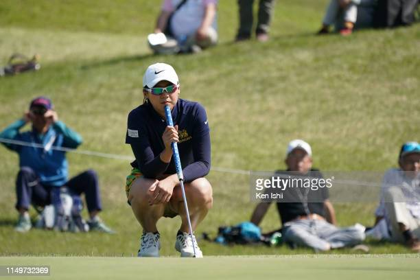 Nook Sukapan of Thailand prepares to putt on the 18th green during the final round of the Shizu Hills Ladies Mori Building Cup at Shizu Hills Country...