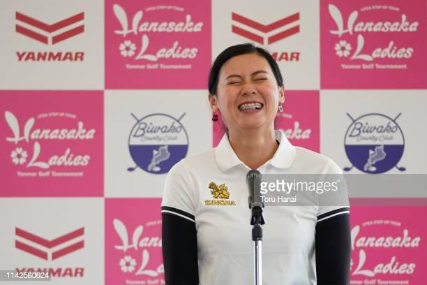 Nook Sukapan of Thailand reacts as she delivers a winning speech in Japanese after winning the Hanasaka Ladies Yanmar Golf Tournament at Biwako...