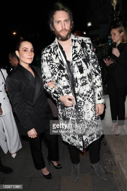 Noomi Rapace and Marc JacquesBurton attends the Vogue x Tiffany Fashion Film after party for the EE British Academy Film Awards 2020 at Annabel's on...