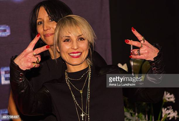 Noomi Rapace and singer Titiyo Jah attends the Stockholm premiere of Robocop at Rigoletto on February 6 2014 in Stockholm Sweden