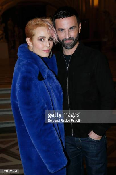 Noomi Rapace and Stylist Nicolas Ghesquiere pose after the Louis Vuitton show as part of the Paris Fashion Week Womenswear Fall/Winter 2018/2019 on...