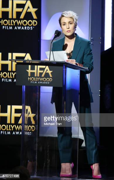 Noomi Rapace speaks onstage during the 21st Annual Hollywood Film Awards held at The Beverly Hilton Hotel on November 5 2017 in Beverly Hills...