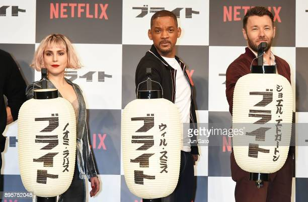 Noomi Rapace Will Smith and Joel Edgerton attend the press conference for 'Bright' at the RitzCarlton on December 20 2017 in Tokyo Japan