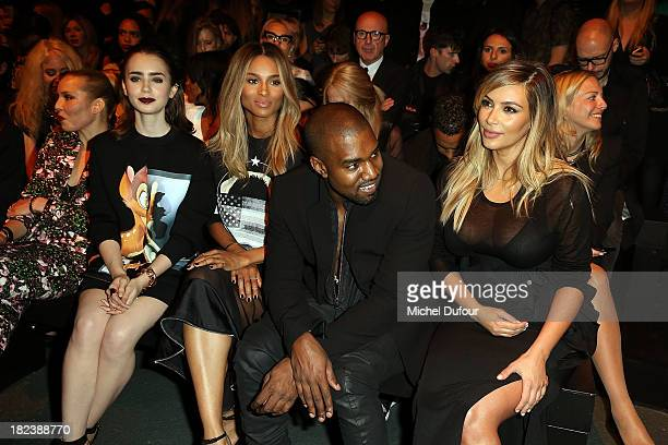 Noomie Rapace Lily Collins Kim Kardanshian Kanye West and Ciara Princess Harris attend the Givenchy show as part of the Paris Fashion Week Womenswear...