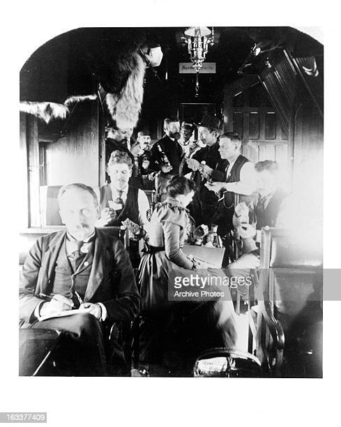 Noon time in a Northern Pacific Rail Road car en route to Klondike Alaska during the Gold Rush circa 1898