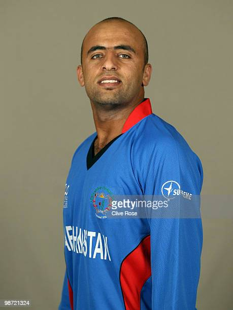 Noor Ali of Afghanistan poses during a portrait session ahead of the ICC T20 world Cup at the Pegasus Hotel on April 28 2010 in Georgetown Guyana