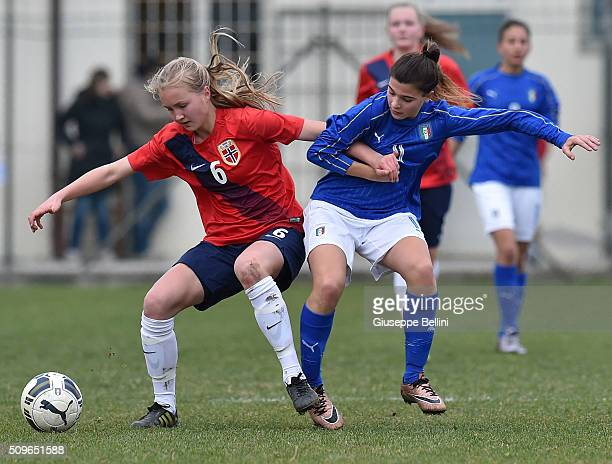 Noor Eckhoff of Norway and Sofia Cantore of Italy in action during the Women's U17 international friendly match between Italy and Norway on February...