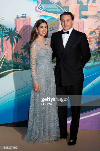 Noor Fares and Alexandre Khawam attend the Rose Ball 2019 to benefit the Princess Grace Foundation on March 30 2019 in Monaco Monaco