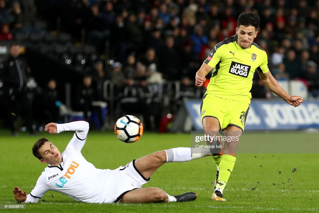 Noor Husin of Notts County scores his sides first goal during The Emirates FA Cup Fourth Round match between Swansea City and Notts County at the Liberty Stadium on February 6, 2018 in Swansea, Wales.