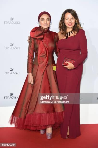 Noor Neelofa Mohd Noor and Nathalie Colin attend Swarovski Crystal Wonderland Party on September 20 2017 in Milan Italy