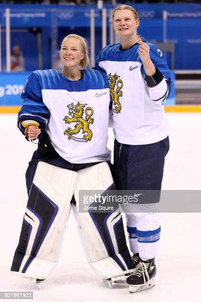 Noora Raty and Mira Jalosuo of Finland celebrate after defeating Olympic Athletes from Russia 32 during the Women's Ice Hockey Bronze Medal game on...
