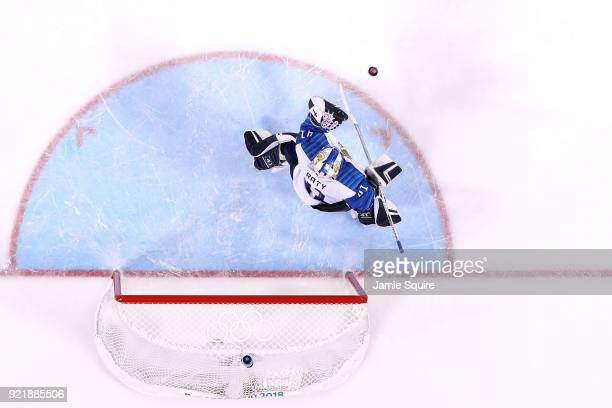 Noora Raty of Finland makes a save against Olympic Athletes from Russia in the first period during the Women's Ice Hockey Bronze Medal game on day...