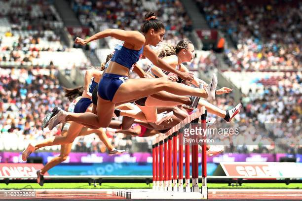 Nooralotta Neziri of Finland competes in heat 2 of the Women's 100m Hurdles during Day One of the Muller Anniversary Games IAAF Diamond League event...