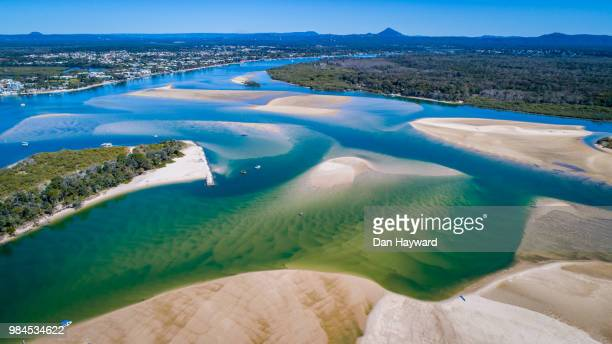 noosa river by drone - sunshine coast australia stock pictures, royalty-free photos & images