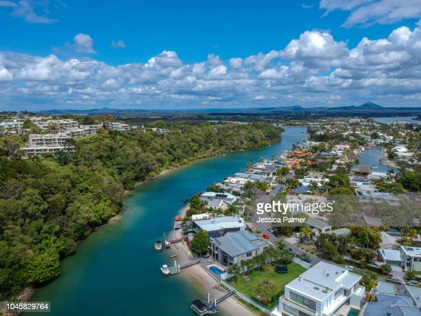 noosa river from above 2 - sunshine coast australia stock pictures, royalty-free photos & images
