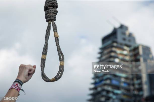 A noose carried by a protester is displayed at a protest near the port on August 11 2020 in Beirut Lebanon Last week's explosion which killed more...